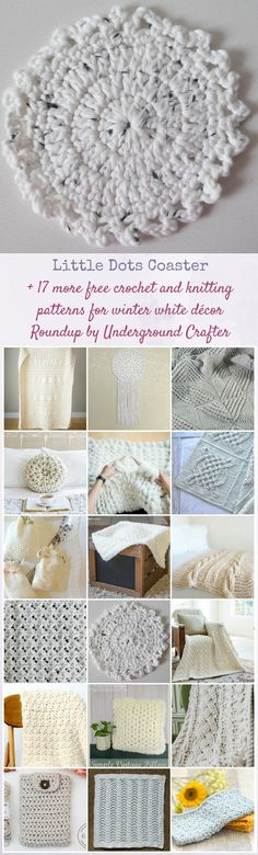 Little Dots Coaster, free #crochet pattern in Wool and the Gang Shiny Happy Cotton yarn by Underground Crafter | Get this easy peasy coaster pattern and find more inspiration in the roundup for 18 free crochet and #knitting patterns for winter white décor.