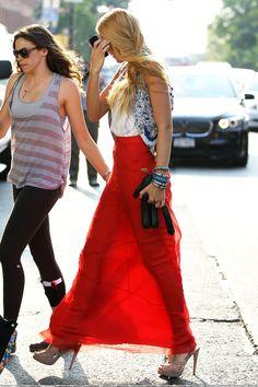 blake lively | red skirt