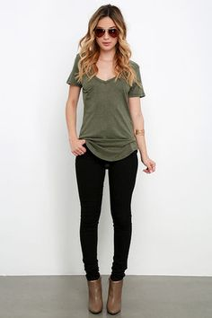 Z Supply Pleasant Surprise Olive Green Tee at Lulus.com!