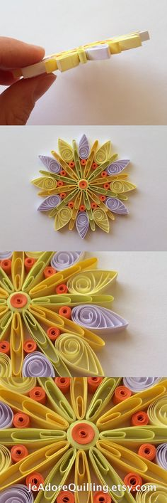 Snowflakes Yellow Orange White Christmas Tree Decoration Winter Ornaments Gifts Toppers Fillers Office Corporate Paper Quilling Quilled Art