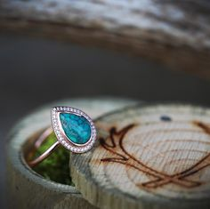 Custom Wedding Rings Women's Turquoise Engagement Ring with Diamond Halo. Handcrafted by Staghead Designs. Custom Wedding Rings, Wedding Rings Vintage, Wedding Rings For Women, Diamond Wedding Rings, Bridal Rings, Halo Diamond, Wedding Jewelry, Diamond Rings, Halo Rings