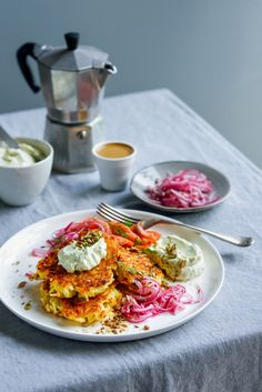 From The Kitchen: Potato Latkes with Smoked Salmon, Feta Cream Cheese Whip & Quick Pickled Red Onions