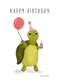 Happy Birthday Turtle, Happy Birthday Art, Happy Birthday Wishes Cards, Happy Birthday Pictures, Funny Birthday Cards, Happy Birthdays, Birthday Quotes, Birthday Ideas, Baby Poster