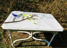 upcycled painted bird table by booth 121