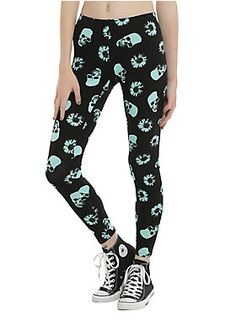 <p>There are so many things that are awesome about these leggings! They have a 90s throwback vibe with the daisies but the print is a totally hot-right-now mint color. Throw in the skulls and they are perfect for everyone! Black leggings with a mint allover skull and daisy print design. </p><ul>	<li>95% cotton; 5% spandex</li>	<li>Wash cold; dry low</li>	<li>Made in USA</li></ul>