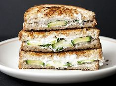cucumber goat cheese grilled cheese         OH YUM Because I love goat cheese, because it is easier on the digestive system, and because I have cucumbers all over my kitchen!  BRILLIANT!!!