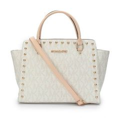 Michael Kors Selma Studded Logo Large White Totes Outlet