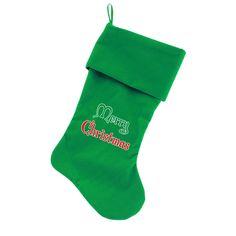 Merry Christmas Velvet Dog Stocking - Green