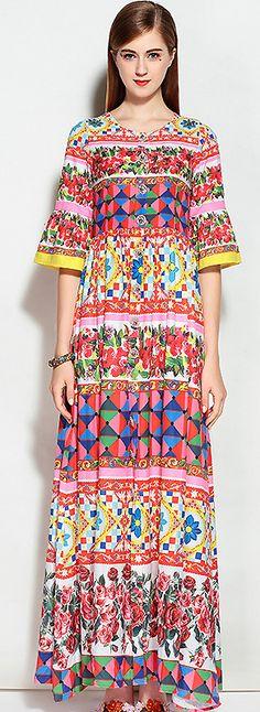 Elegant O-Neck Flare Sleeve Floral Print Maxi Dress