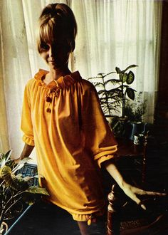 """November 1967. """"Go to bed: Mini-gown with bloomers, colorful tassled pulls on the adjustable neckline."""""""