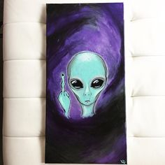 Glows in the dark alien painting, trippy painting, drawing on canvas, painting & Alien Painting, Trippy Painting, Painting & Drawing, Painting Lessons, Painting Tips, Painting Techniques, Diy Canvas Art, Acrylic Painting Canvas, Canvas Canvas
