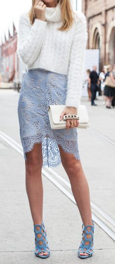 Baby blue lace skirt, turtle neck voluminous sweater, strappy blue heels = effortless chic
