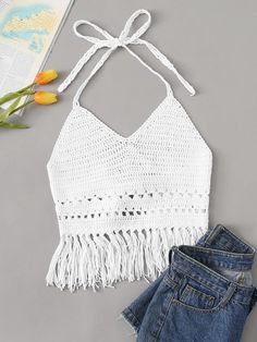 To find out about the Crochet Sheer Fringe Hem Halter Top at SHEIN, part of our latest Tank Tops & Camis ready to shop online today! Gilet Crochet, Crochet Blouse, Knit Crochet, Crochet Top Outfit, Crochet Fringe, Crochet Halter Tops, Crochet Bikini, Crochet Crop Top, Crochet Clothes