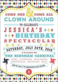 Vintage CLOWNING AROUND Birthday Party Invitation  by andersruff, $18.00