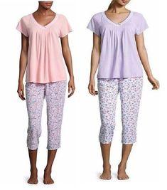 Adonna Womens Capri Pajama Set Short Sleeves size L XL NEW https   www 53086371c