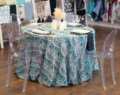 Peacock Marble turquoise swirl Table Linen - Creative Coverings