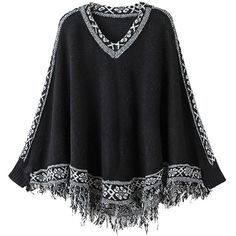 Black V Neck Tribal Print Tassel Hem Knitted Cape Jumper (595 MXN) ❤ liked on Polyvore featuring tops, sweaters, tribal print sweater, v neck jumper, black jumper, vneck sweater e black top