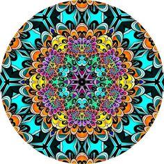 Rainbow Dahlia 2 Mandala, one of my fractal mandala pieces. Available at RedBubble as a framed print or greeting card.