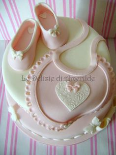 {I adore this pastel pink Baby Bib by  Le Delizie di Amerilde, Party & Cake Design}