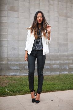 White Tux Jackets dress any outfit up! by Song of Style