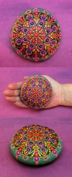 """Mandala Stone (Large) by Kimberly Vallee: Hand painted with acrylic and protected with a matt finish, this """"large"""" stone is a touch larger than my usual stones, at a little over 3"""" diameter. It is one-of-a-kind."""