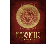 Stephen Hawking 11x14  - Rock Star Cosmic Pioneer Fine Art Astronomer Geek Chic Poster Print - Black Hole science geek