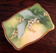 Antique Signed Limoges Coronet Lilly Of The Valley Footed Box, Circa 1900