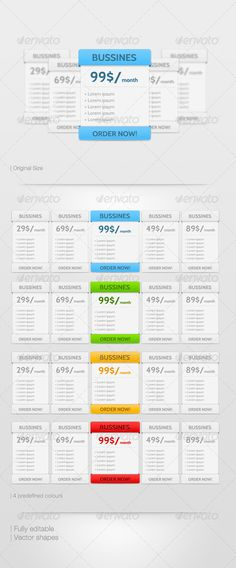 Clean & Simple Price tables - #Tables #Web #Elements Download here: https://graphicriver.net/item/clean-simple-price-tables/1529213?ref=alena994