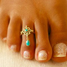 Brass Toe Ring Adjusable Toe Ring Gemstone Toe Ring Foot