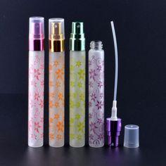 5pcs Outdoor Portable Mini Perfume Atomizer Empty Floral Glass Spray Bottle 10ml