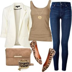 A fashion look from September 2012 featuring slim shirt, blazer jacket and high-waisted skinny jeans. Browse and shop related looks.