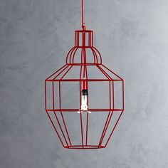 Riviera Large Red Pendant Lamp  | Crate and Barrel