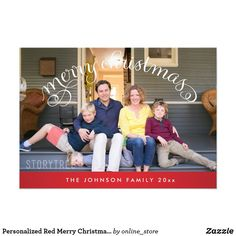 Personalized Red Merry Christmas Photo Cards