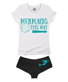 Look at this White 'Mermaids This Way' Tee & Black Hipster on #zulily today!