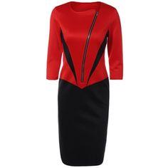20.01$  Buy now - http://di8hp.justgood.pw/go.php?t=198311101 - Color Block Zipper Bodycon Dress 20.01$