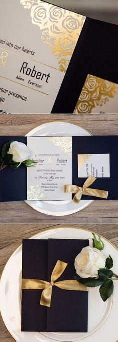 Royal Blue Custom Pocket Wedding Invitation Folder with Champagne Ribbon #pocketinvitations #goldfoil #Blue