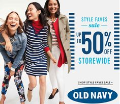 Online Only! Styles Faves Sale! Up to 50% #Off Storewide.  Store : #OldNavy Scope: Entire Store  Ends On : 01/25/2017    Get more deals: http://www.geoqpons.com/Old-Navy-coupon-codes  Get our Android mobile App: https://play.google.com/store/apps/details?id=com.mm.views    Get our iOS mobile App: https://itunes.apple.com/us/app/geoqpons-local-coupons-discounts/id397729759?mt=8