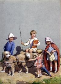 Illustrations de Margaret W- Tarrant Retro Kids, Vintage Illustration, Dogs And Kids, Inspirational Artwork, Vintage Children, Kids Playing, Illustrations Posters, Childrens Books, Original Artwork