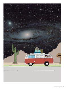 no. 001 Todo roadtrip merece su propia banda sonora, by Marta Pallares. Illustration: eme&mich (IG: @emeandmich) #MapleMag #ForYoungHearts #Illustration #Ilustración #Trip #Space #Art #Arte