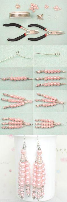 Easy Pattern on Making Long Dangle Earrings for Wedding Seed Bead Jewelry, Bead Earrings, Beaded Jewelry, Jewellery, Hanging Earrings, Leather Earrings, Diy Wedding Earrings, Beaded Beads, Homemade Jewelry
