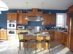 Image result for what colour to paint kitchen with light oak cabinets