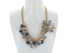 Crystal Cluster Flower Necklace - Bunches of Crystal Clusters make up this fun, colourful necklace, with an added Crystal Flower! Available in Blue and Blue.