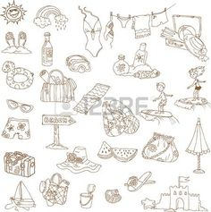 parasols: Summer holiday doodle collection - hand drawn in vector Illustration