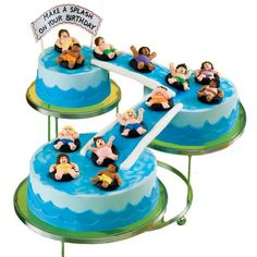 Big splash birthday bash cake - DIY by Wilton ~ would be cute with teddy graham 'people' too ~ pool cake