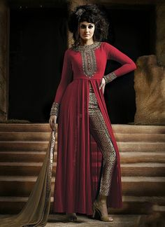 Black Orange Faux Georgette Salwar Kameez