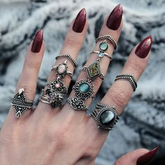 ✣♆✣ >> Shop 1000+ Bohemian Treasures Now! << ✣♆✣ Shop now! ☆ ↳ www.shopdixi.com ↲ ☆  // rings // jewellery // jewelry // hippie // boho // bohemian // gothic // midi rings // silver // sterling // pearl // dark // witchy // mystic // boho choc