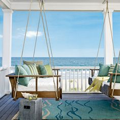 Beach home in South Carolina designed by Carter Kay. Hanging beds on the porch off the master bedroom make a great place for afternoon naps. (Photographer J. Savage Gibson) /// love the hanging beds and ocean view aspect. Chic Beach House, Dream Beach Houses, Beach House Decor, Home Decor, Hanging Porch Bed, Hanging Beds, Porch Swings, Bed Swings, Swing Beds