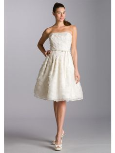 Knee-Length Short Organza Satin Beach Summer Wedding Dresses