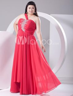 Sweet 2013 Style Red Chiffon Beading One-Shoulder Plus Size Prom Dress. Sweet 2013 Style Red Chiffon Beading One-Shoulder Plus Size Prom Dress. See More One Shoulder at http://www.ourgreatshop.com/One-Shoulder-C935.aspx