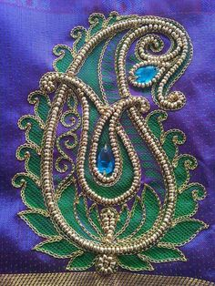 Super Hand Work Blouse Design, Kids Blouse Designs, Fancy Blouse Designs, Sari Blouse Designs, Hand Embroidery Videos, Embroidery Motifs, Beaded Embroidery, Embroidery Designs, Maggam Work Designs